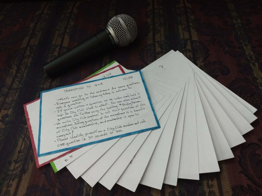 Notecards and a microphone