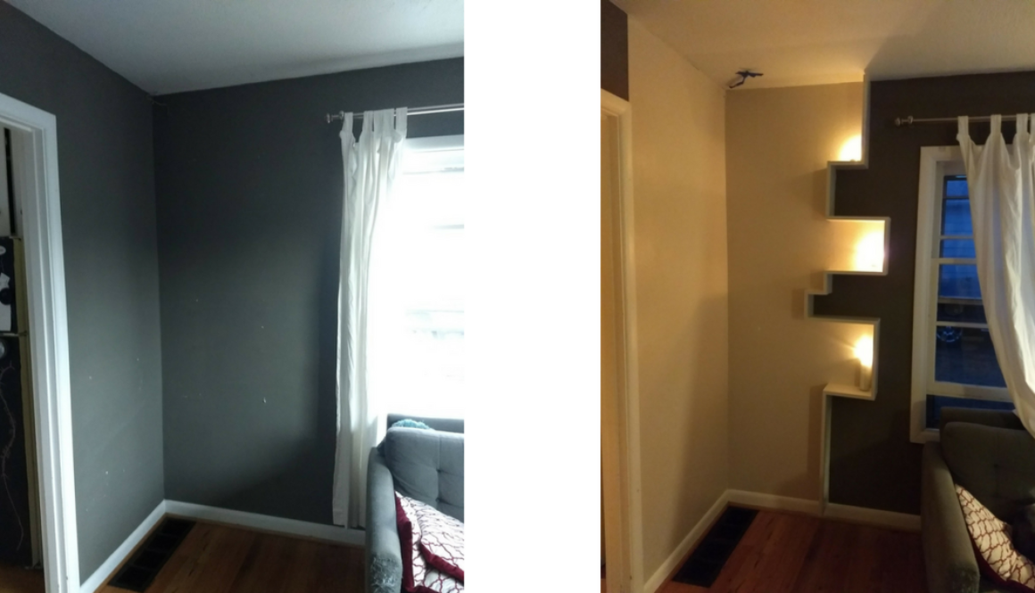 Before and after shelves